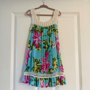Girls Sleeveless Blue Tropical Crocheted Dress 5T
